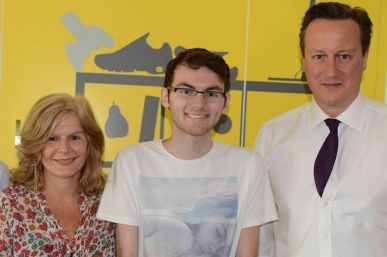 Stephen with his Mum and Prime Minister, David Cameron.